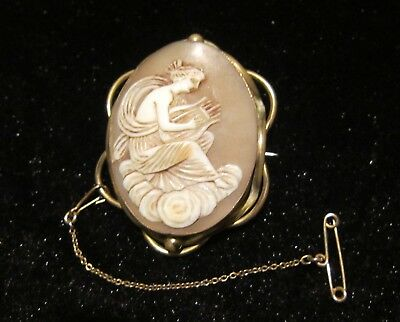 Original Antique Cameo brooch lady with lyre early 19th century