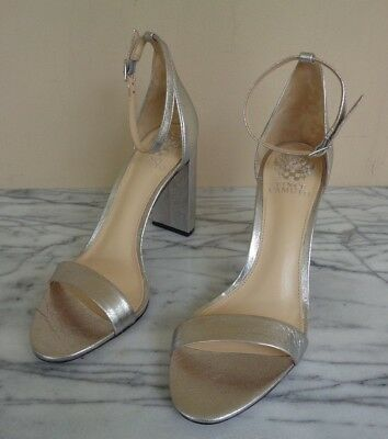 eabd7c15ce6a New Vince Camuto Size 9 Silver Open Toe Ankle Strap Leather Heels Pumps  Shoes