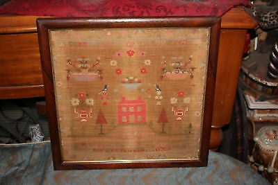 Antique 1800'S Sampler-Scopwick-Mary Gast-Schoolhouse Trees Birds Flowers-1834