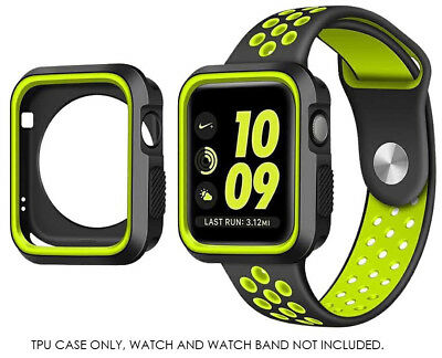 Black/Yellow TPU Case Flexible Rubber Trim Cover for Apple Watch, Series 3, 42mm