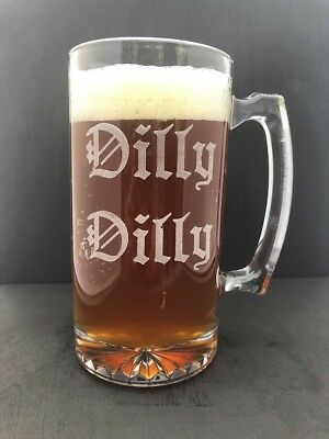 Dilly Dilly 25 oz Glass XL Engraved Beer Mug Bud Light CHEERS Pit of Misery NEW