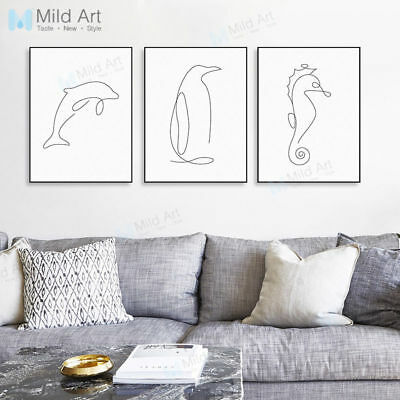 Modern Abstract Picasso Sea Animal Dolphin Poster Home Decor Art Canvas Painting