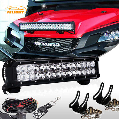 "14"" Led Light Bar Combo + Remote Wiring Kit For Honda Pioneer 1000 700 UTV ATV"