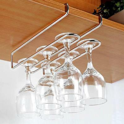 Stainless Steel Wine Glass Hang Holder Goblet Stemware Storage Organizer Rack LJ