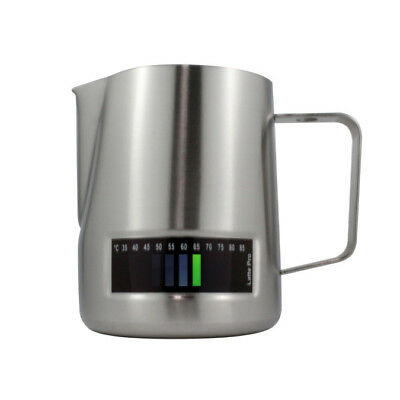 Milk Frothing Jug 1L In-Built Thermometer Latte Pro Stainless Steel Coffee Steam