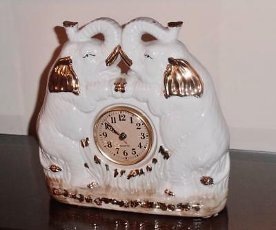 Lucky Elephant Clock - Feng Shui - Beautiful Decor - White with Gold Accents