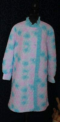 Rockabilly retro vintage dressing gown quilted nylon GIVONI s W pink blue frills