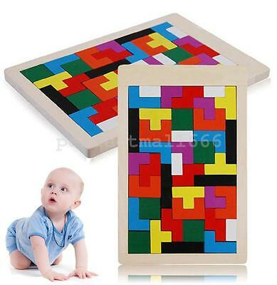 Wooden Tetris Game Children Baby Toddler Puzzle Educational Toys Building Blocks