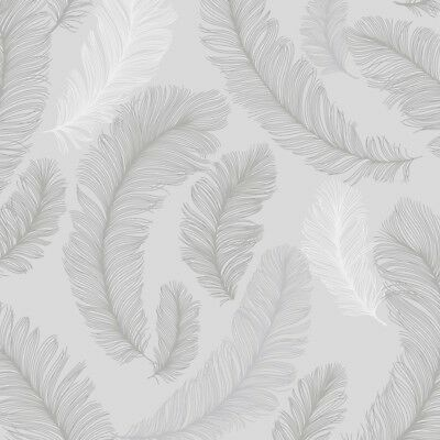 Reflect Grey Feather Wallpaper with Silver Glitter - Paste the Wall Vinyl RE2002