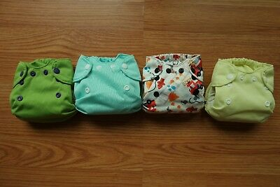 Lot of 4 Smart Bottoms Newborn AIO Organic Cloth Diapers Born Smart Smartbottoms