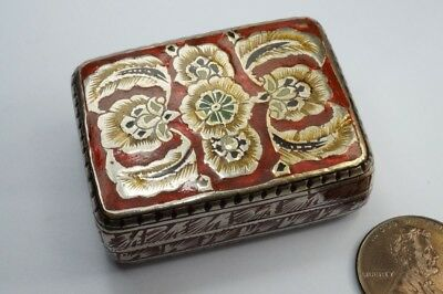 BEAUTIFUL ANTIQUE INDIAN SILVER ENAMEL SNUFF ? BOX c1800's