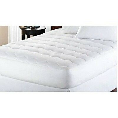 Cal King Size Mattress Pad Extra Thick White Padded Deep Pocket Bed Topper Cover