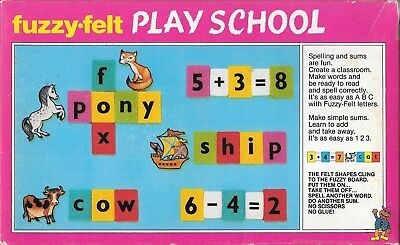 Vintage fuzzy felt play school numbers letters made England c.1982 2 x boards