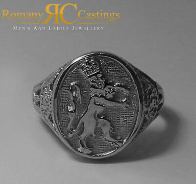 Unisex 925 Solid Sterling Silver Highly Polished England Lion Ring 5.7g