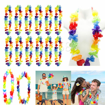 Lei Hawaiian Tropical Flower Garland Necklace Hen/Stag Night Fancy Dress Par