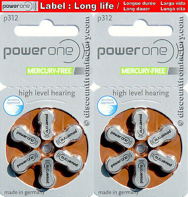 Set of 12  Hearing aid batteries PowerOne p312, R624+, 312Zas, 312HP, AC312, 312