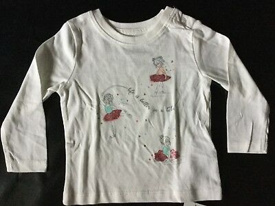 Baby Girl Cream Long Sleeve T Shirt with Life is Better in a Tutu detail