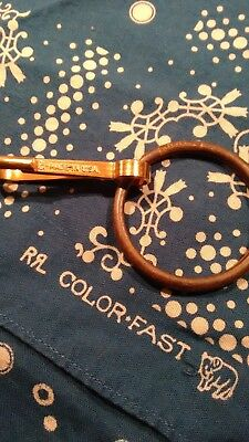RRL solid brass key ring with Anchor USA hook