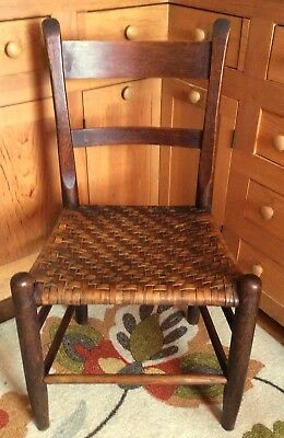 Antique Nineteenth Century American Slat Back Woven Splint Seat Side Chair~EUC