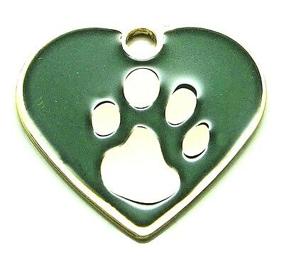 Paw Print Small Green Heart pet id tags