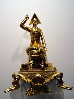 Very Unusual French Figural Gilt Group Inkwell Depicting Priest Punishing Pupil