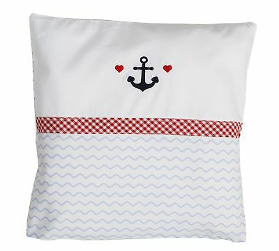 hansekind Pillow Case Cover Anchor Blue Baby Kids Decorative Maritime 30x30 cm