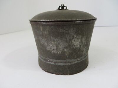 Vintage Primitive Steel Pail Can Bucket Lunch Beans Soup Lid #7087