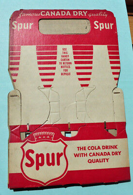 Canada Dry Spur Cola Soda Bottle Carrier Carton Cardboard Dated 1947