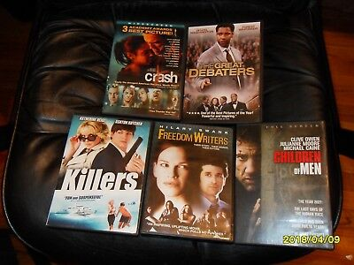 Five DVD Movies For Sell. Crash (Widescreen), The Great Debaters, Killers,etc.
