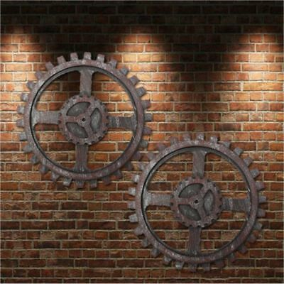 Wooden Gear Wall Art Industrial Antique Vintage Chic Home Bar Decor Widget  24CM