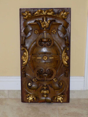 Antique 19th Century French Mahogany Gilded Relief Carved Wood Panel, Celestial