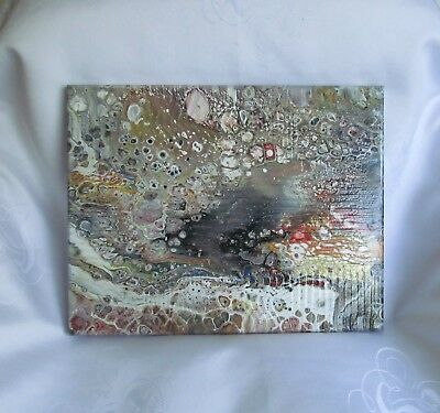 """ORIGINAL ACRYLIC POUR PAINTING CANVAS ABSTRACT MODERN 11"""" x 14"""" HAND PAINTED"""