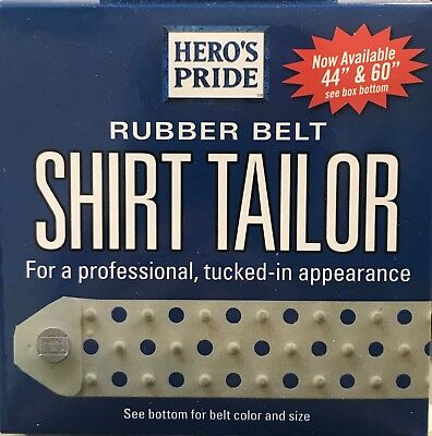 Hero's Pride Rubber Belt Shirt Tailor Up to 44'' White New in Box