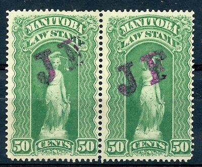 Weeda Manitoba ML97 Unused pair, 50c 1892 JF Law revenue stamps CV $80