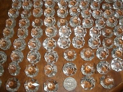 lot of 100 Vintage Czech Octagon Crystal glass for chandelier parts prisms 28mm