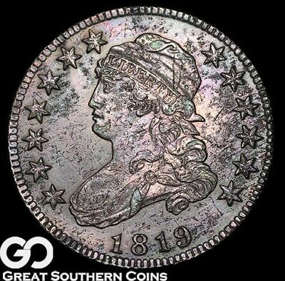 1819 Capped Bust Quarter, Very Tough Early Silver Type, AU Details * Bids: $1700