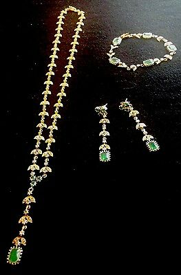 18 Carat Gold-Plated Silver Necklace, Bracelet & Earrings - Green Chrysoprase