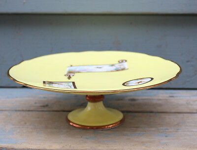Antique, Aesthetic Movement Compote - Handpainted scences - Gold Trim