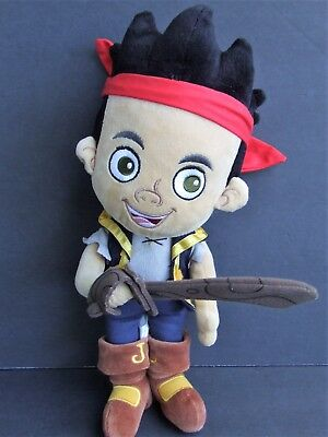 """Disney Store Jake and the Neverland Pirates 14"""" Plush Boy Doll with Sword EUC"""