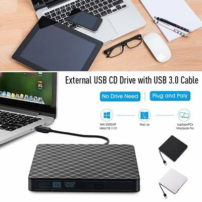 Slim External USB 3.0 DVD RW CD Drive Writer Burner Reader Player For Laptop PC