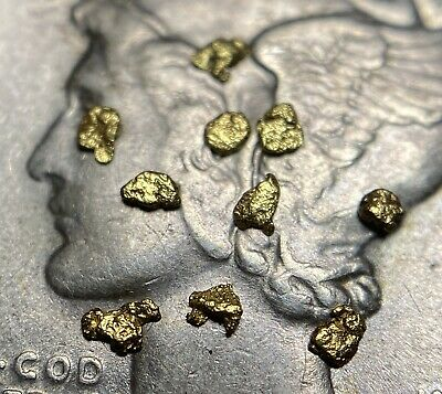 10 Quality Alaskan Natural Placer Gold Nuggets 16 to 21k 25 Mesh