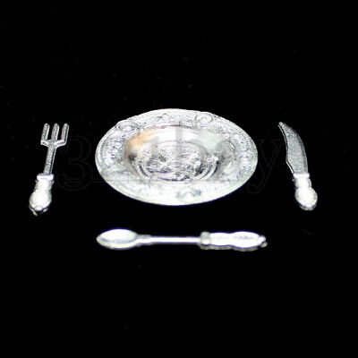 Dollhouse Miniature Complete Dish and Silverware Set in White 40 Pcs ~ FA40321