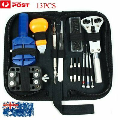 13Pcs Watch Battery Change Repair Tool Band Pin Remover Back Case Opener Kit AU