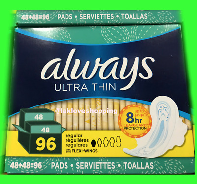 Always Ultra Thin Regular Pads with Wings 96 ct. Free Shipping!!!!!!!!