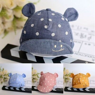 Infant Baby Dot Caps Girls Boys Cute Cat Beret Baseball Sun Cap Kids Peaked Hat