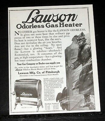 1918 Old Magazine Print Ad, Lawson Odorless Gas Heater, It Gives Out More Heat!
