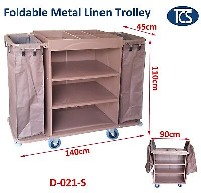 TCS New Foldable Side Bars Metal Commercial Housekeeping Trolley Linen Cart