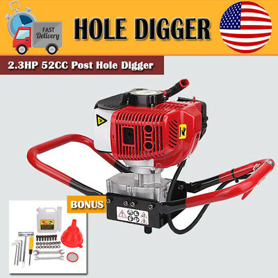 Hand-Held Post Hole Digger / Earth Auger Head Only 52cc 2.3hp CE Certified