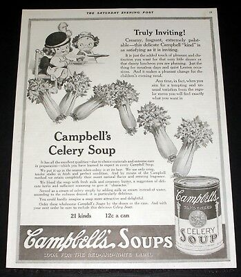 1918 Old Magazine Print Ad, Campbell's Celery Soup, Creamy, Fragrant, Palatable!