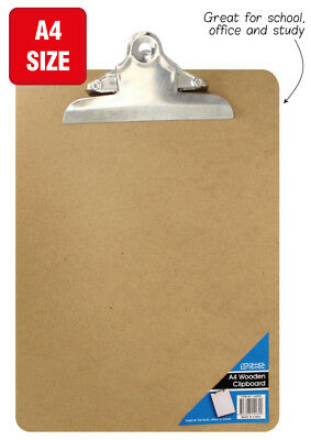 12x Wooden A4 Clipboard Hardboard Menu Board With Clip For Office Home School